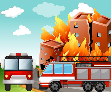 building on fire: Fire trucks at the fire scene illustration