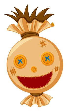 Scarecrow head with big smile illustration Illustration