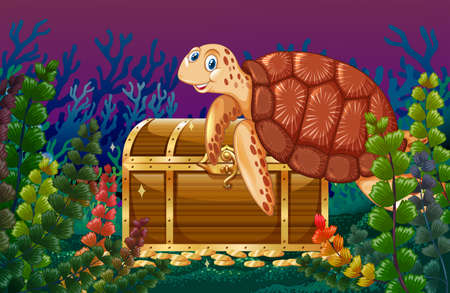 background picture: Turtle swimming under the sea illustration