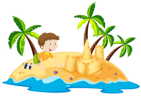 Boy having fun on the island illustration