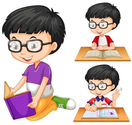 writes: Boy with glasses reading book illustration