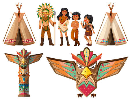 the totem pole: Native american indians and tepee illustration