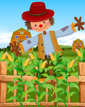 corn field: Scarecrow in the corn field illustration