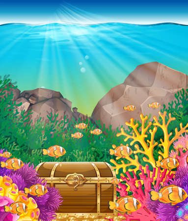 marine scene: Fish and chest under the ocean illustration