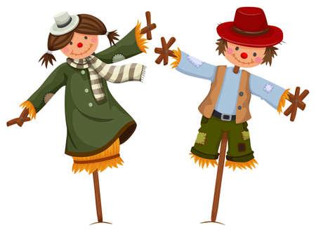espantapajaros: Espantapájaros vestidos como niña y niño de la ilustración