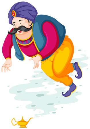Genie volando fuera de la ilustración lámpara