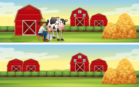 rural scene: Farmer milking cow in the farm illustration Illustration