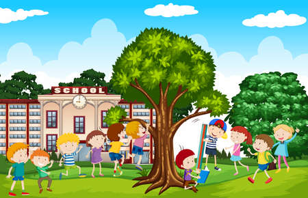 Students playing in the school yard illustration