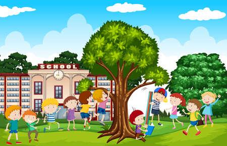 school yard: Students playing in the school yard illustration