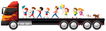 Children in the band on lorry truck illustration Illustration