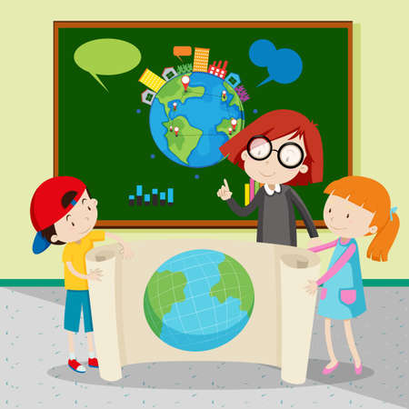 Students holding large world map illustration