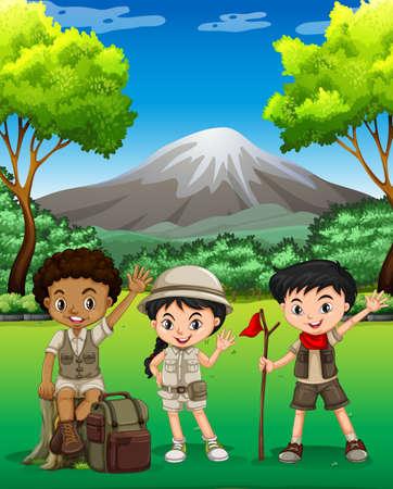 Drie kinderen wandelen in het bos illustratie