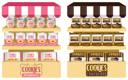 bakery products: Cookies in bags and jars illustration