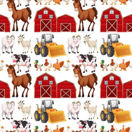 De fondo sin fisuras con animales de granja y graneros ilustración