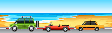 cars parking: Three cars parking by the beach illustration