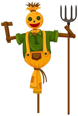 scarecrow: Happy scarecrow holding trident  illustration