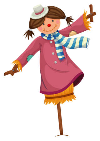 Scarecrow dressed in woman clothes illustration