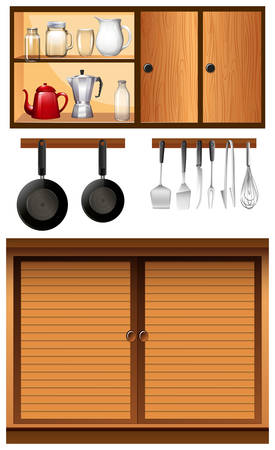 cabinets: Kitchen appliances and cabinets illustration
