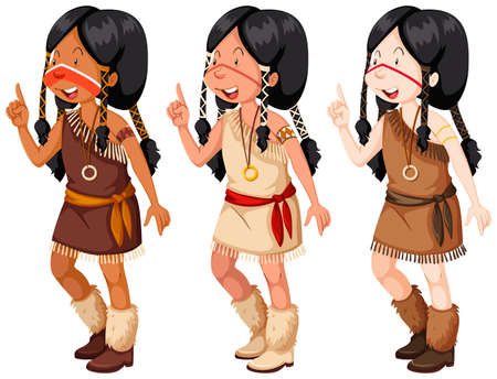 traditional illustration: Native american indian girls in traditional costume illustration