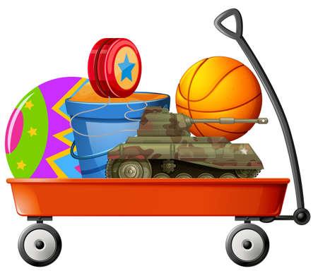 Carro por completo de la ilustración juguetes