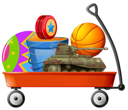 pail tank: Wagon full of toys illustration