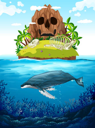 Scene with island and whale underwater illustration 矢量图像