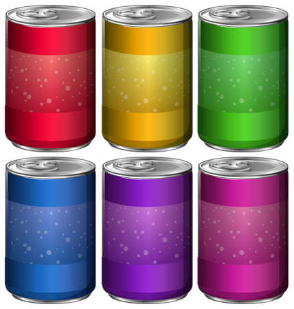 aluminum cans: Aluminum cans in six different colors illustration Illustration