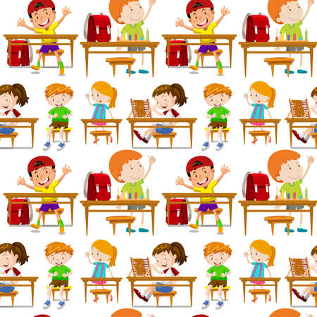 school class: Seamless students in classroom illustration