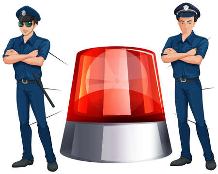 security guard man: Police officers and siren light illustration Illustration