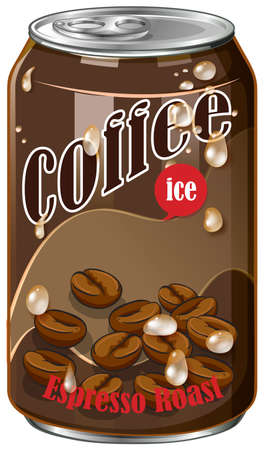 tin: Ice coffee in can illustration