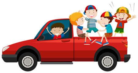 student travel: Children riding on pick up truck illustration Illustration
