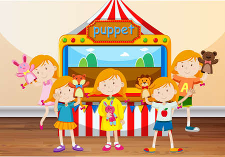 puppets: Children playing with hand puppets illustration