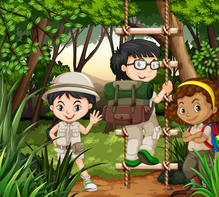 hiking: Kids hiking in the forest illustration