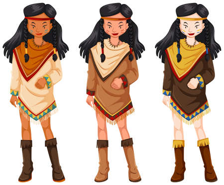 indios americanos: Native american indians women in traditional costumes illustration