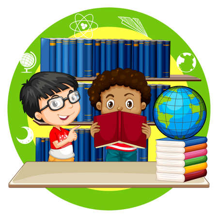 library shelf: Two boys reading books at school illustration Illustration