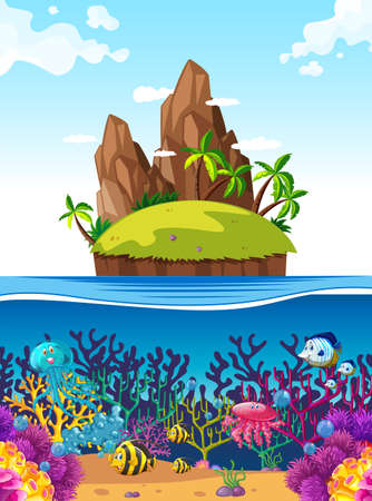 fish illustration: Scene with island and fish under the sea illustration