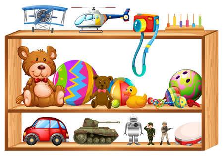 wooden shelves: Toys on wooden shelves illustration Illustration