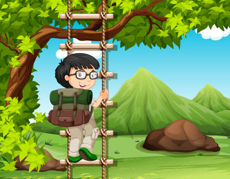 Boy climbing up the wooden ladder in park illustration