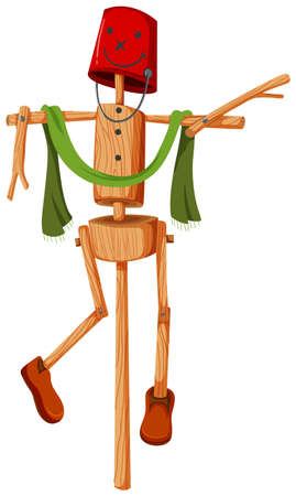 wooden bucket: Wooden scarecrow with red bucket face illustration