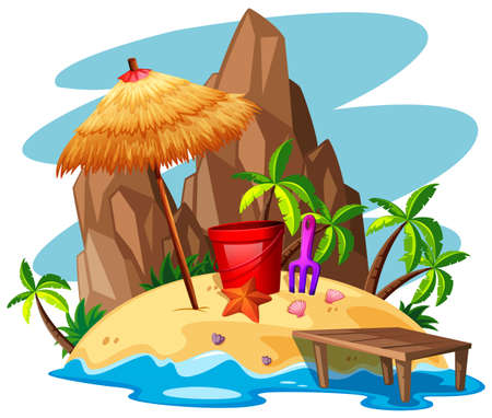 Scene with rock and beach on island illustration