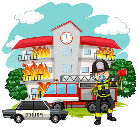 fire fighter: Fire fighter at the fire station illustration Illustration