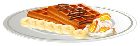 Waffle and banana on the plate illustration
