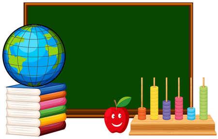Blackboard and educational materials illustration