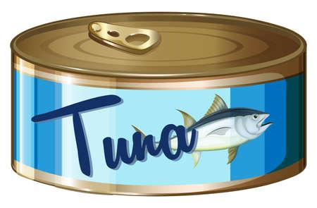 Tuna in aluminum can illustration Vectores