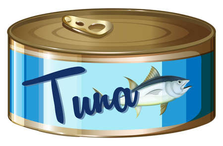 can: Tuna in aluminum can illustration Illustration