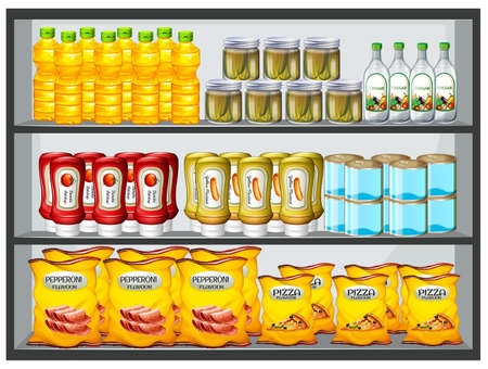 art product: Different products on the shelves illustration Illustration