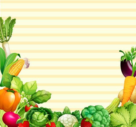 Paper design with vegetables and fruits illustration