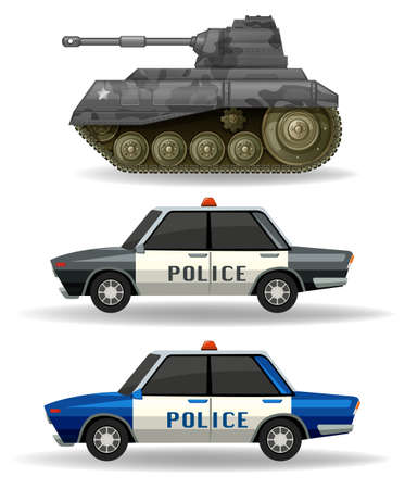 military tank: Police cars and military tank illustration