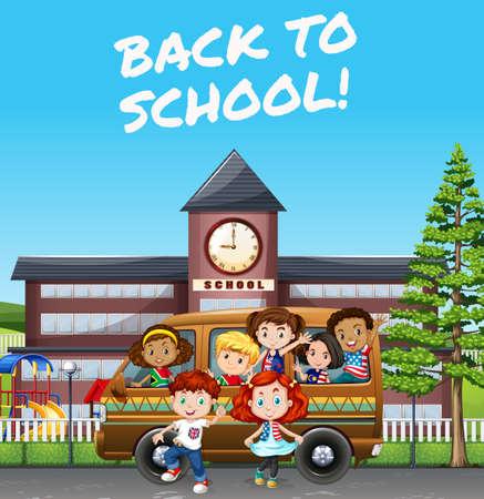 Children riding van to school illustration