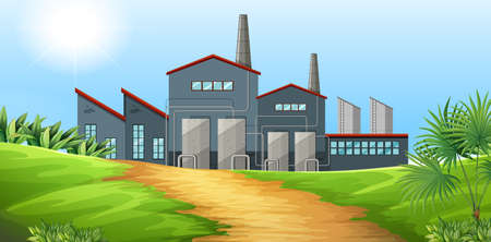 clipart chimney: Factory building in the field illustration Illustration